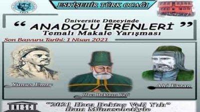 Eskişehir Türk Ocağı Anadolu Erenleri Makale Yarışması